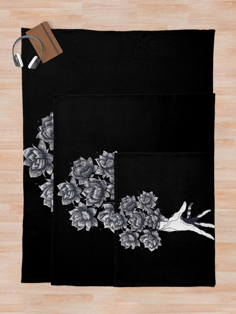 Alternate view of Hand with lotuses on black Throw Blanket