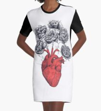 Heart with peonies Graphic T-Shirt Dress