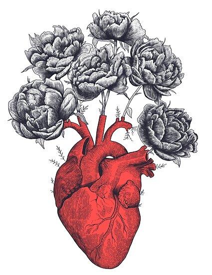 Heart with peonies von Valeriya Korenkova Kodamorkovkart