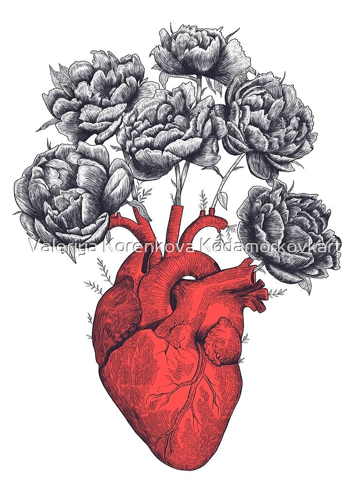 Heart with peonies by kodamorkovkart