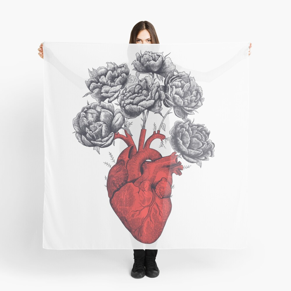 Heart with peonies Scarf