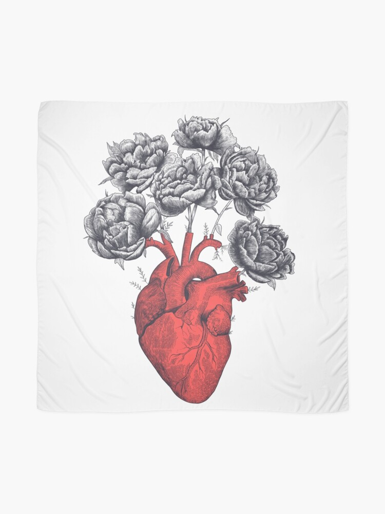 Alternate view of Heart with peonies Scarf