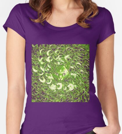 Hiding in fractal feathers Fitted Scoop T-Shirt