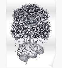 Brain with peonies Poster