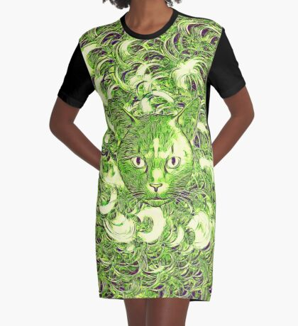 Hiding in fractal feathers Graphic T-Shirt Dress