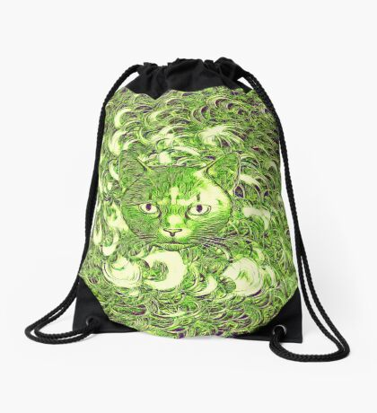 Hiding in fractal feathers Drawstring Bag