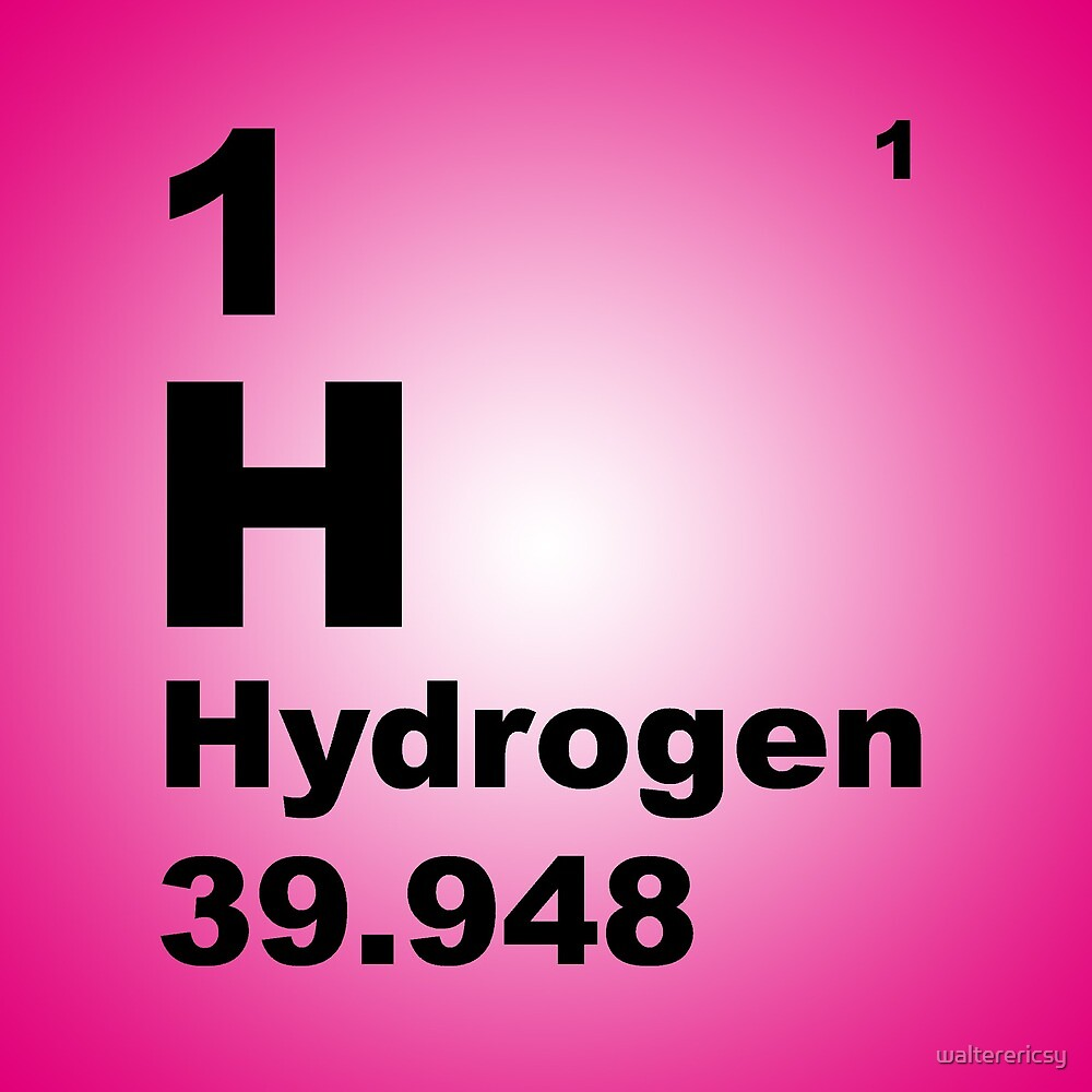 Pink Gradient Color Tile Block Hydrogen Periodic Table Of Elements By  Walterericsy
