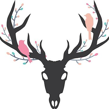 Whimsy Stag Skull by NixieNoo