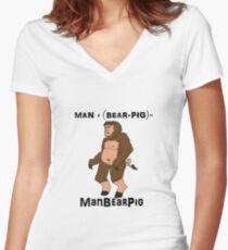 ManBearPig Women's Fitted V-Neck T-Shirt
