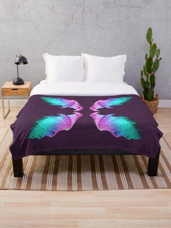 Wings #fractal art Throw Blanket