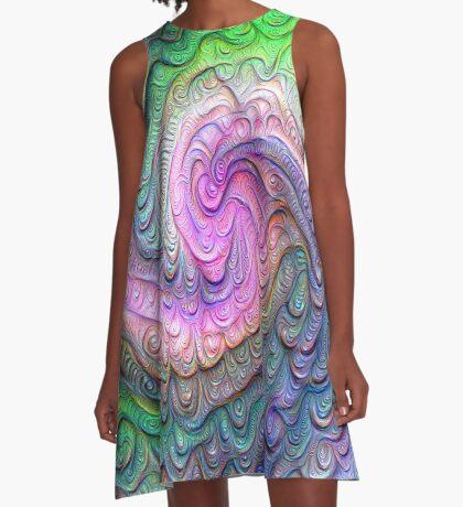 Frozen color Wave #DeepDream #Art A-Line Dress