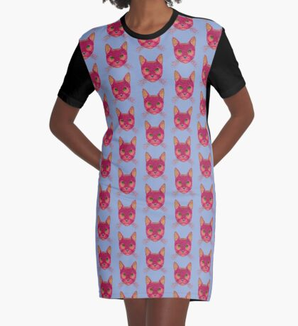 Rose Hungry Cat Graphic T-Shirt Dress