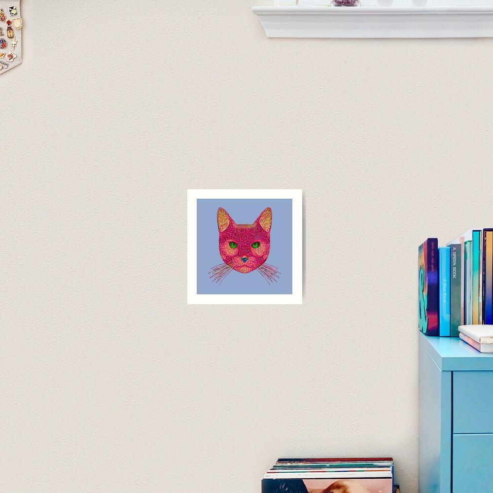 Rose Hungry Cat Art Print