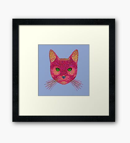Rose Hungry Cat Framed Print