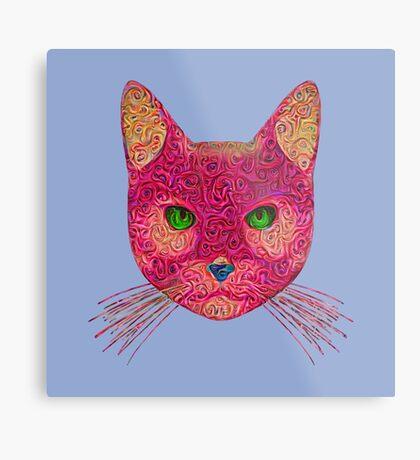 Rose Hungry Cat Metal Print