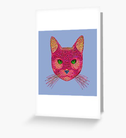 Rose Hungry Cat Greeting Card