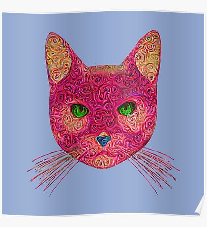 Rose Hungry Cat Poster