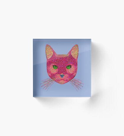 Rose Hungry Cat Acrylic Block