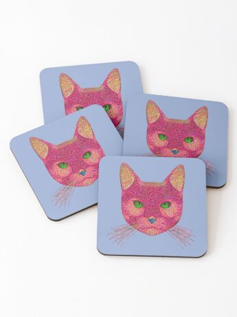 Rose Hungry Cat Coasters