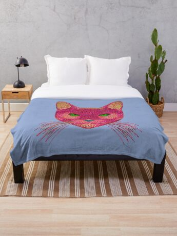 Rose Hungry Cat Throw Blanket