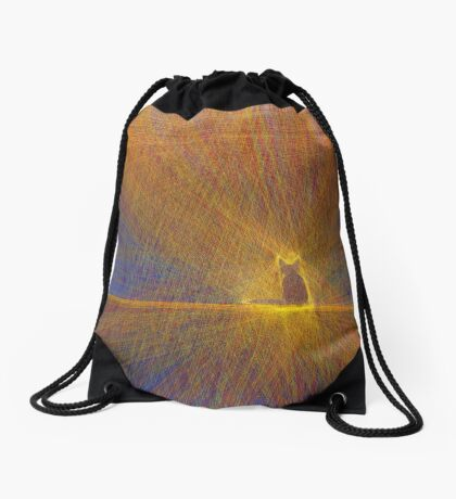 Cat on the roof Drawstring Bag