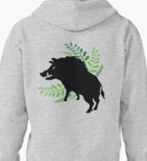 Wild Boar and Fern Design Pullover Hoodie