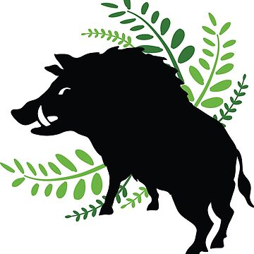 Wild Boar and Fern Design by NixieNoo