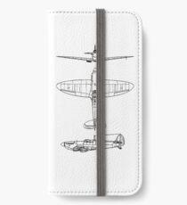 Supermarine, Spitfire, Supermarine, Spitfire, Fighter, WWII, 1942, Fighter, WWII, 1942, Black on White iPhone Wallet/Case/Skin