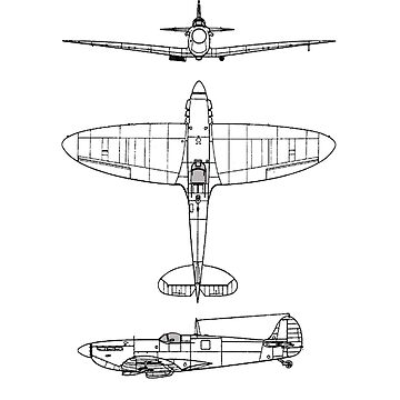 Supermarine, Spitfire, Supermarine, Spitfire, Fighter, WWII, 1942, Fighter, WWII, 1942, Black on White by TOMSREDBUBBLE