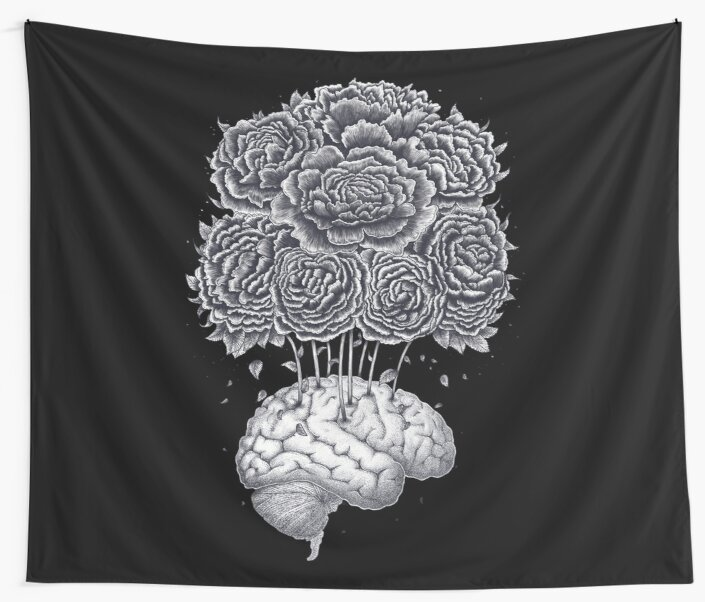 Brain with peonies on black by Valeriya Korenkova Kodamorkovkart