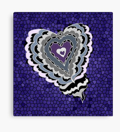 Tiled Heart - Purple Canvas Print