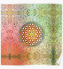Flower Of Life Vintage Ornaments Mosaic Green Red Poster