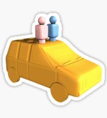 Married Peg People in a Car Sticker