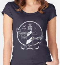 Lighthouse Follow Your Bright Light Explore Women's Fitted Scoop T-Shirt