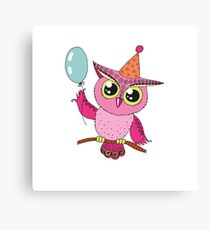 Cute colorful cartoon owl with blue balloon Canvas Print