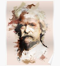Paint-Stroked Portrait of Author and Activist, Mark Twain Poster