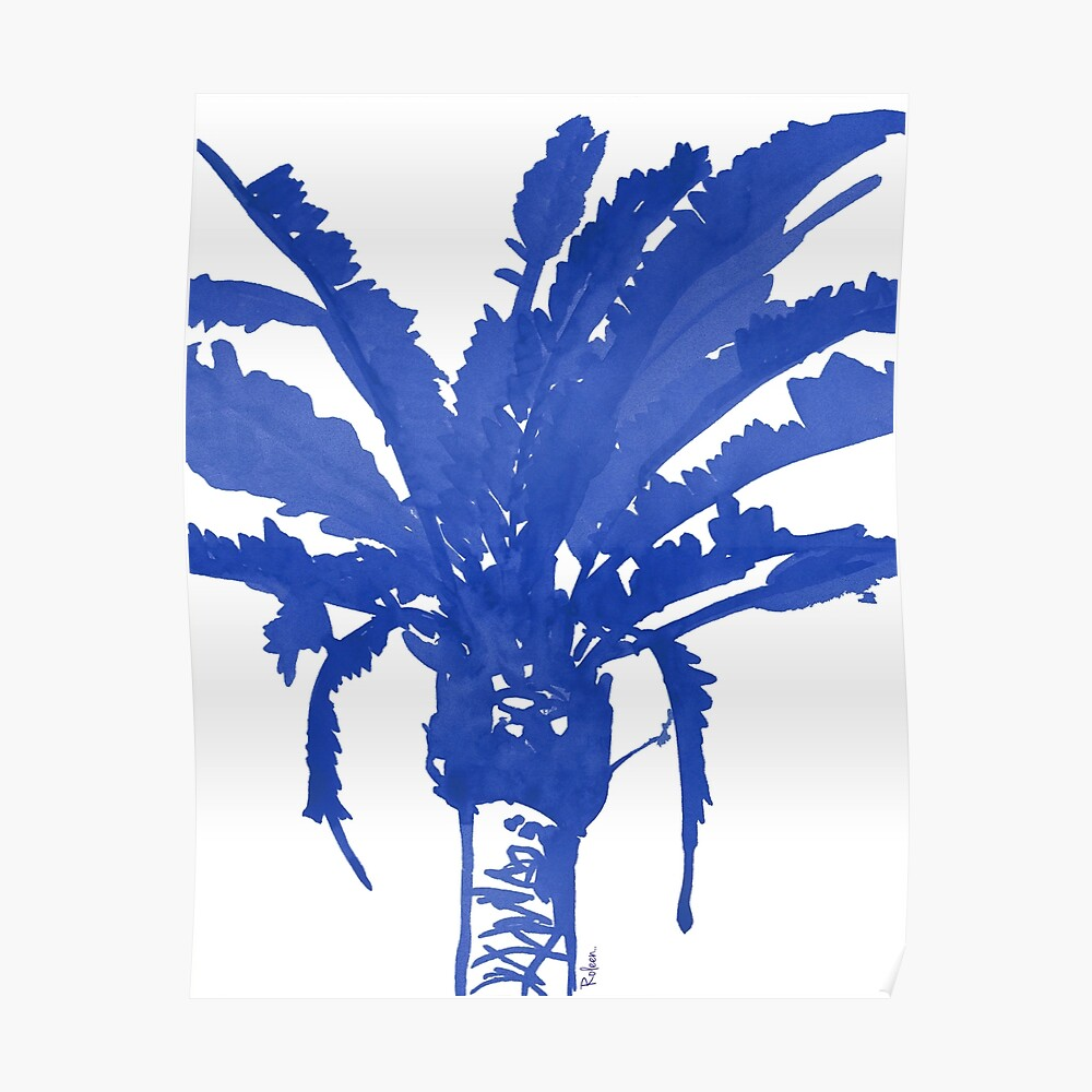 Stand Tall Blue Palm Tree Poster