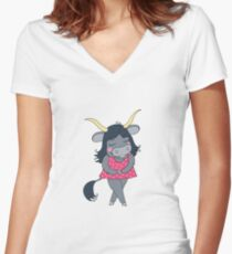 Cute colorful cartoon yak in pink dress Women's Fitted V-Neck T-Shirt