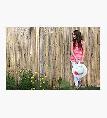 Lonely 12 year old with white hat Photographic Print