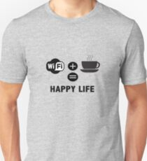 Coffee Addict Design - WiFi And Coffee Happy Life T-Shirt