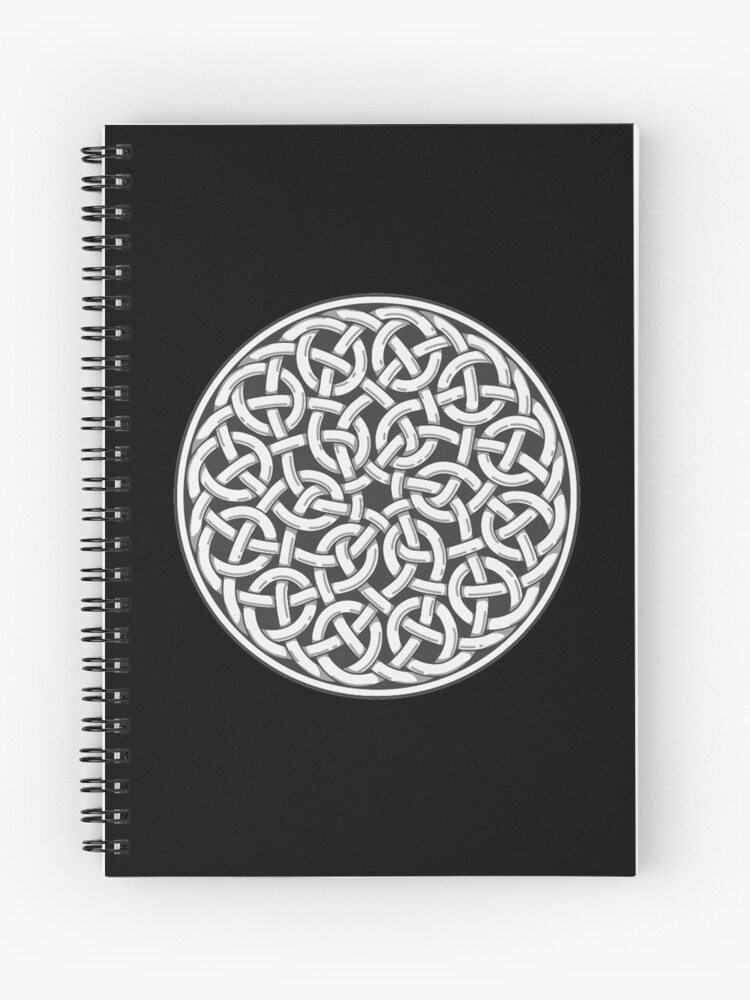 Pagan, Celt, Celtic, Circular KNOT, Design, On BLACK | Spiral Notebook
