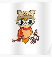 Cute colorful owl in cap sitting on rowan tree Poster