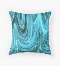 Chrome Style Shine Blue Green Teal Abstract Ripple Ribbon Design Pattern Throw Pillow