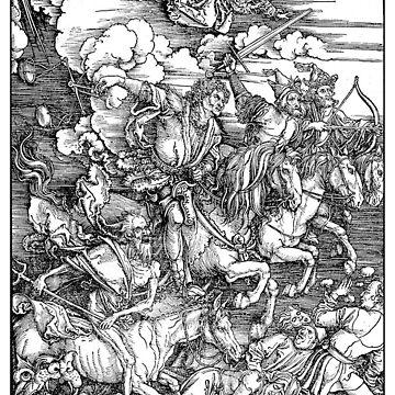 APOCALYPSE, Durer, Revelation, 4 Horsemen, Four Riders,  by TOMSREDBUBBLE
