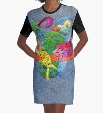 abstract embroidery Graphic T-Shirt Dress