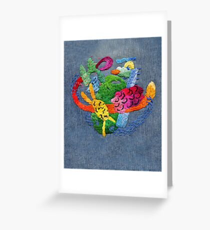 abstract embroidery Greeting Card