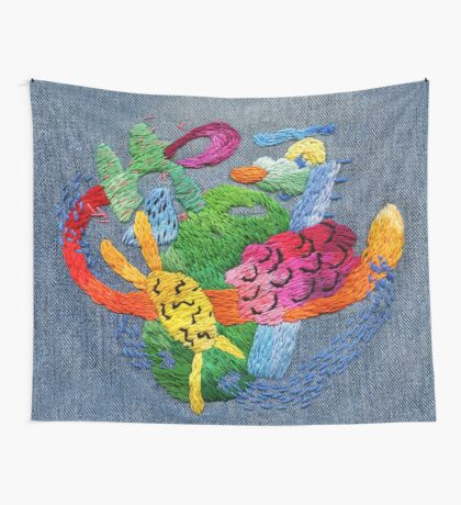 abstract embroidery Wall Tapestry