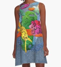 abstract embroidery A-Line Dress