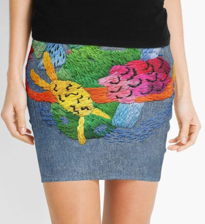 abstract embroidery Mini Skirt