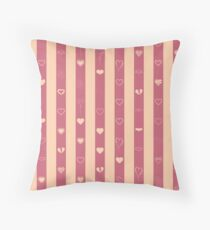 Love stripes pattern tangelo and crimson Throw Pillow